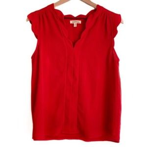 NWT Monteau Red Scalloped V Neck Top M